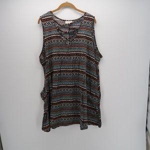 Bobbie Brooks Criss Cross V- Keyhole Tunic Dress